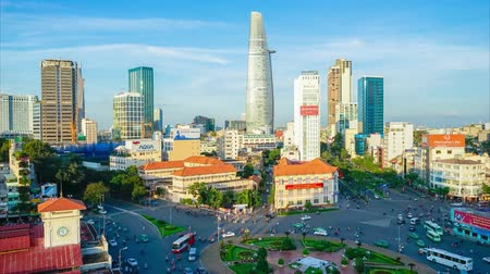capital cities : HO CHI MINH CITY, VIETNAM - April 26, 2016: Timelapse the activities of Ho Chi Minh city central in rush hour Stock Footage