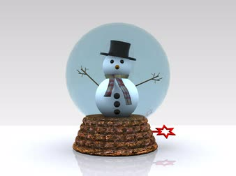 epiphany : Nice glass ball with Snowman greets - 3D