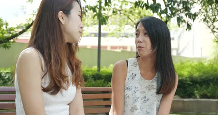 discutir : Happy woman talking to each other Stock Footage