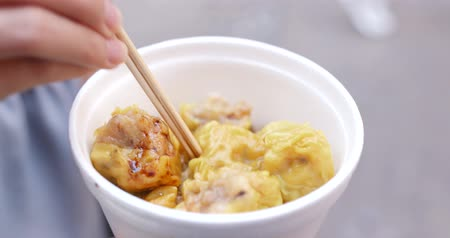 клецка : Hong Kong street food Shumai Стоковые видеозаписи
