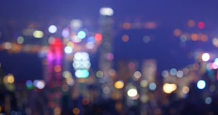 desfocado : Blur view of cityscape at night Stock Footage