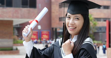 promoce : Happy cheerful woman get graduation