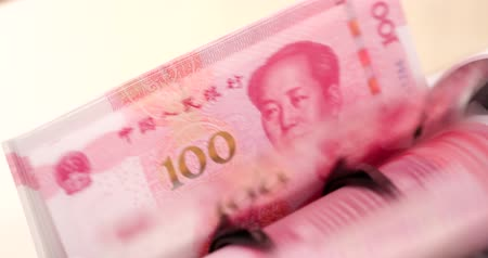 renminbi : Money counting machine with chinese banknote