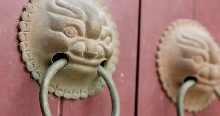 старомодный : Lion statues door handle