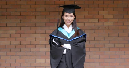 mortarboard : Asian woman get graduation