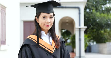 faculty : Beautiful woman graduation Stock Footage