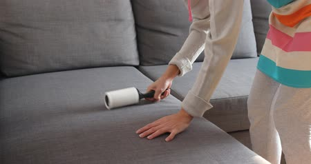 higiênico : Woman cleaning sofa with sticky roller