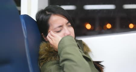 vomit : Woman feeling sea sick on ferry