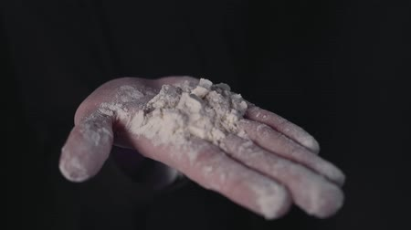 kepekli : A mans palm with flour in his hand