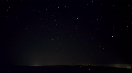 děje : Night panorama of the starry sky above the horizon line