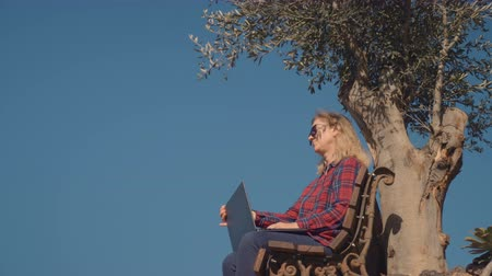 muse : Woman typing in laptop in silence and alone outdoors Stock Footage