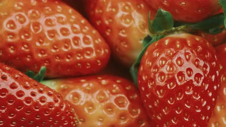 fresh ripe and juicy strawberries macro video