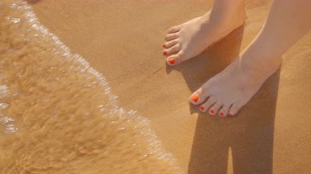 women's : womens feet on the golden sand are washed by the sea surf
