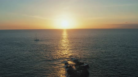 регата : Sailing yachts returning to port during the Amazing Atlantic Sunset