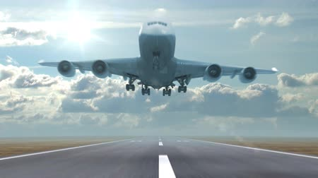 lapse : airplane landing against a background of running clouds, 3d animation