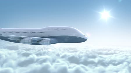 над : Airplane flying over clouds, 3d animation