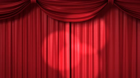 scena : Opening and closing red curtain with spotlights, 3d animation