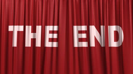 galo : closing red curtain with title the end Stock Footage