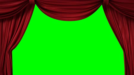 színpad : Opening and closing red curtain with spotlights, 3d animation