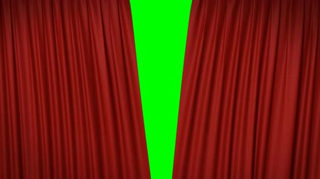 zöld : Opening and closing red curtain, 3d animation Stock mozgókép