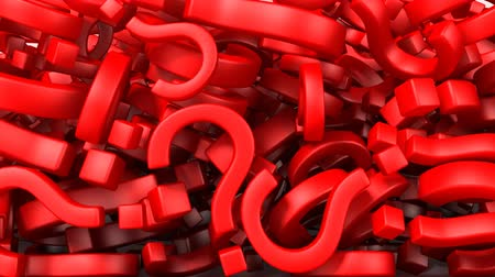kérdések : Question marks, 3d animation with alpha-matte Stock mozgókép