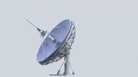 ciência : rotating radio telescope, loop-able 3d animation with alpha-matte