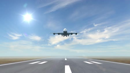 hava otobüsü : airplane landing against a sky background (time-lapse), 3d animation
