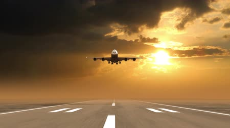 hava otobüsü : airplane landing against sunset background (time-lapse), 3d animation