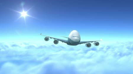 airplane engine : Airplane flying over clouds, 3d animation