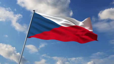 cseh : Czech flag waving against time-lapse clouds background