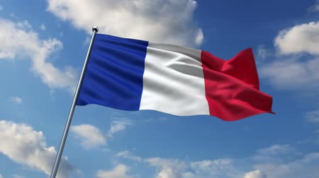 francês : French flag waving against time-lapse clouds background
