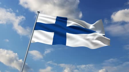 fince : Finnish flag waving against time-lapse clouds background