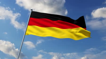 almanca : German flag waving against time-lapse clouds background Stok Video
