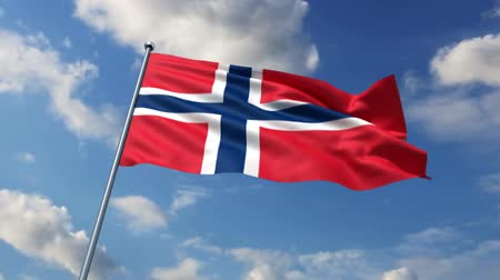 noruega :   Norwegian flag waving against time-lapse clouds background