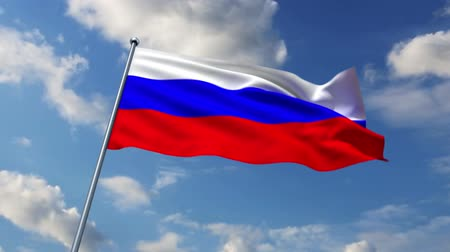 rusya : Russian flag waving against time-lapse clouds background