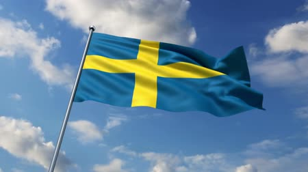 İsveççe : Swedish flag waving against time-lapse clouds background Stok Video
