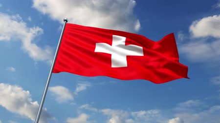 suíça : Swiss flag waving against time-lapse clouds background Vídeos