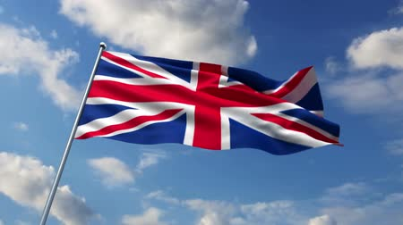 İngilizce : British flag waving against time-lapse clouds background Stok Video