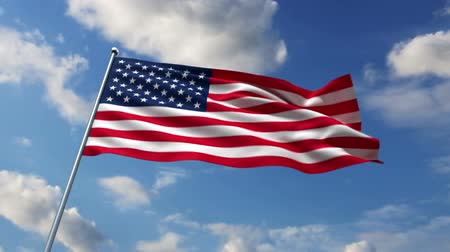 Észak amerika : USA flag waving against time-lapse clouds background