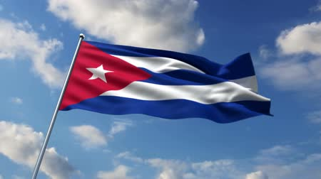 kuba : Cuban flag waving against time-lapse clouds background