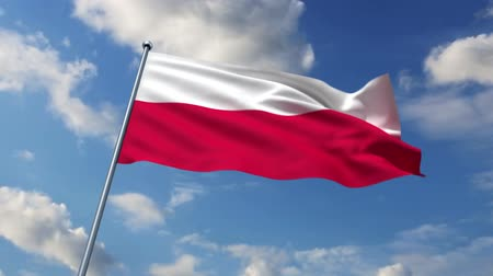 polonês : Polish flag waving against time-lapse clouds background