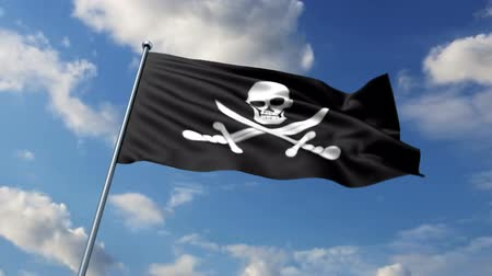 pirat : Pirate flag waving against time-lapse clouds background