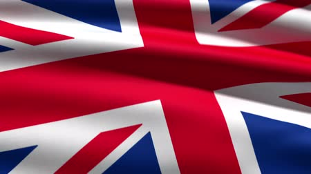 büyük britanya : British flag background, 3d animation. perfect seamless loop Stok Video