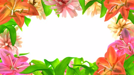 bouquets : growing abstract flowers frame, 3d animation