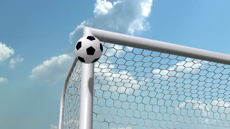 jogador de futebol : soccer ball is flying in the goal Stock Footage