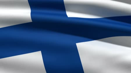 bandeira : Finnish flag, 3d animation. perfect seamless loop Vídeos