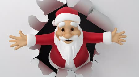 бумага : Santa tears the paper, 3d animation with alpha-matte