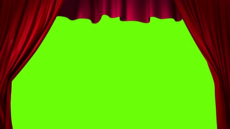 stage theater : Opening and closing red curtain, 3d animation Stock Footage