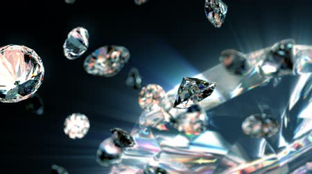 королева : slowly falling diamonds, beautiful background. seamless looped 3d animation