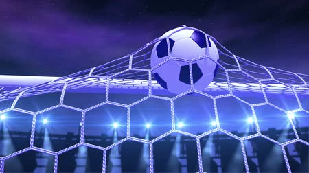 göller : football is slowly flying in the goal against night sky background, 3d animation Stok Video